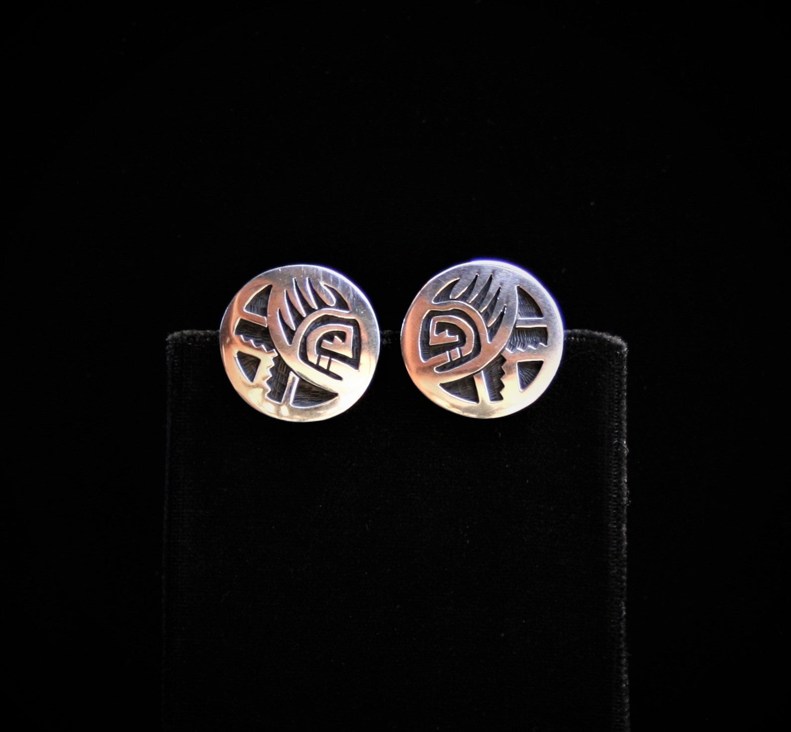Hopi Bear Paw & Cloud Cuff Links 3/4″ Round Glossy Silver