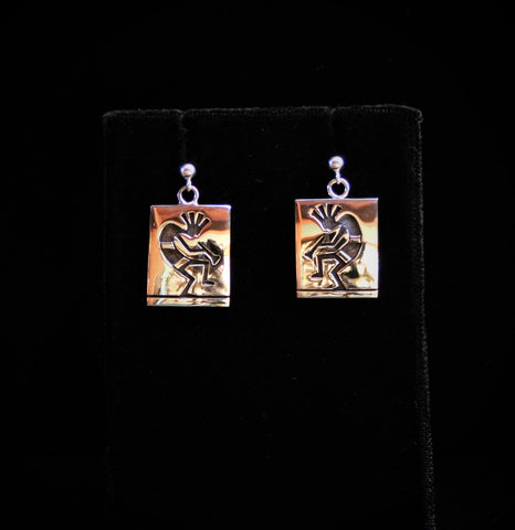 Hopi Kokopelli Earrings 3/4″ Square with Post Glossy Silver