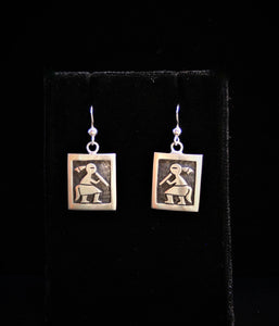 Hopi Kokopelli Earrings 3/4″ Square Matte Silver