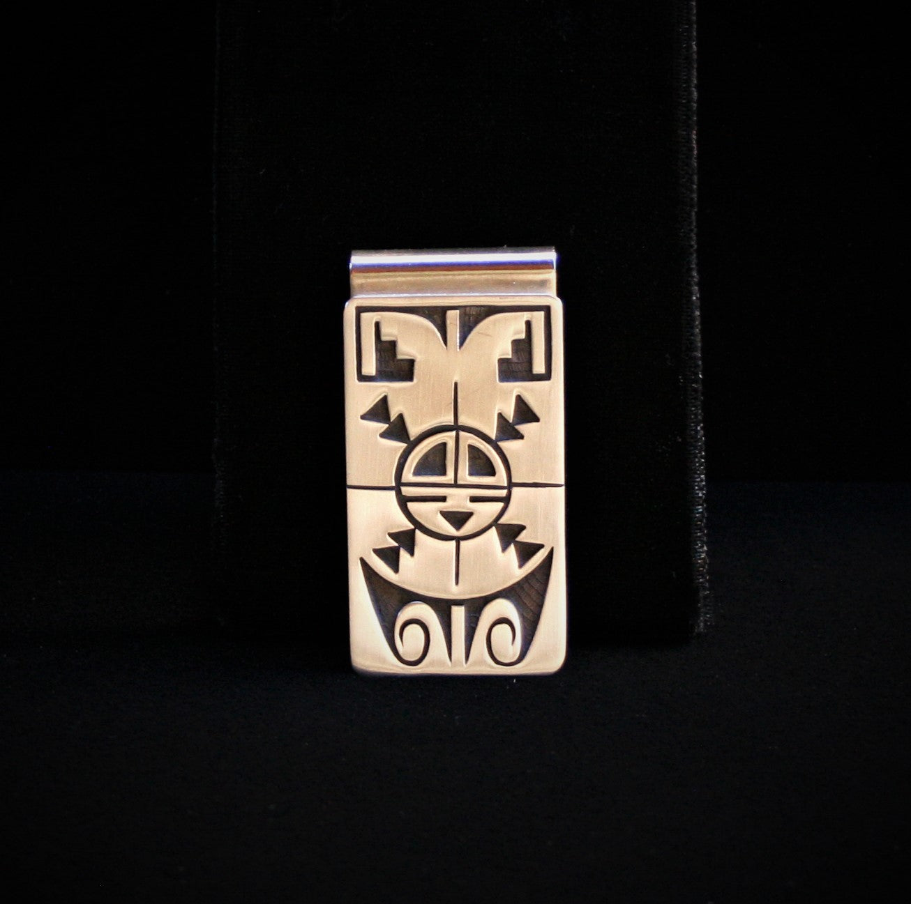 Hopi Sunface with Water & Clouds Money Clip 2″ Matte Silver