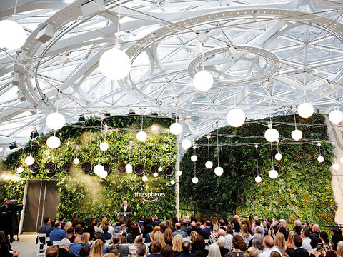 2018, Amazon's Seattle HQ formally opened the Spheres, three huge glass domes that contain 4,000sq ft of space and more than 40,000 plants