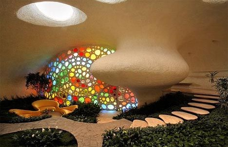 Creative, Colorful & Curved Spiral Shell House Design by Senosiain Arquitectos , Credit - By Dornob Staff