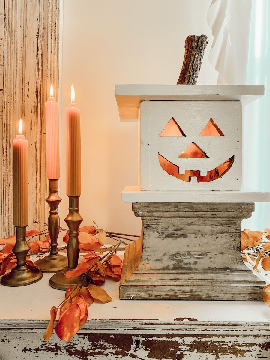 Wooden Jack-o-Lantern DIY, BY DANELLE HARVEY - © DEB AND DANELLE.
