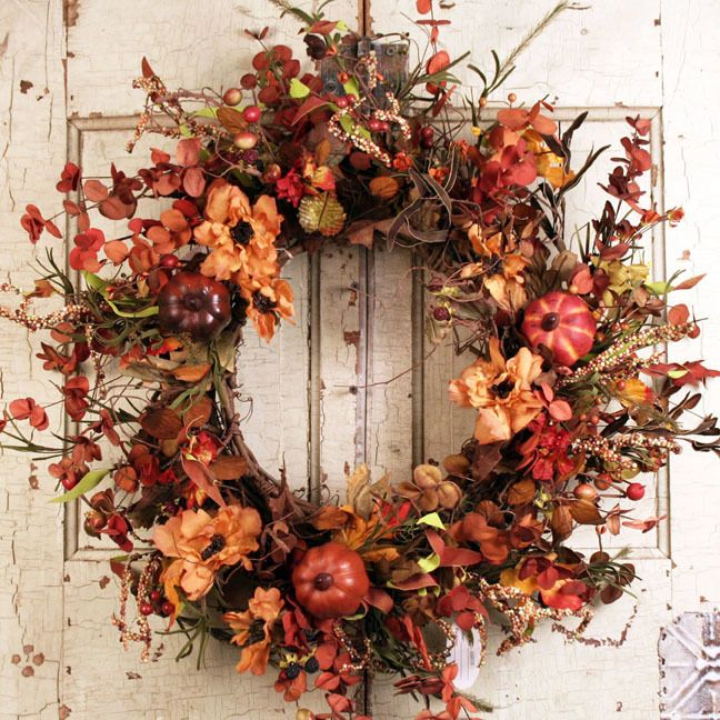 Glenwood Harvest Silk Door Wreath Image Credit - ©The Wreath Depot.