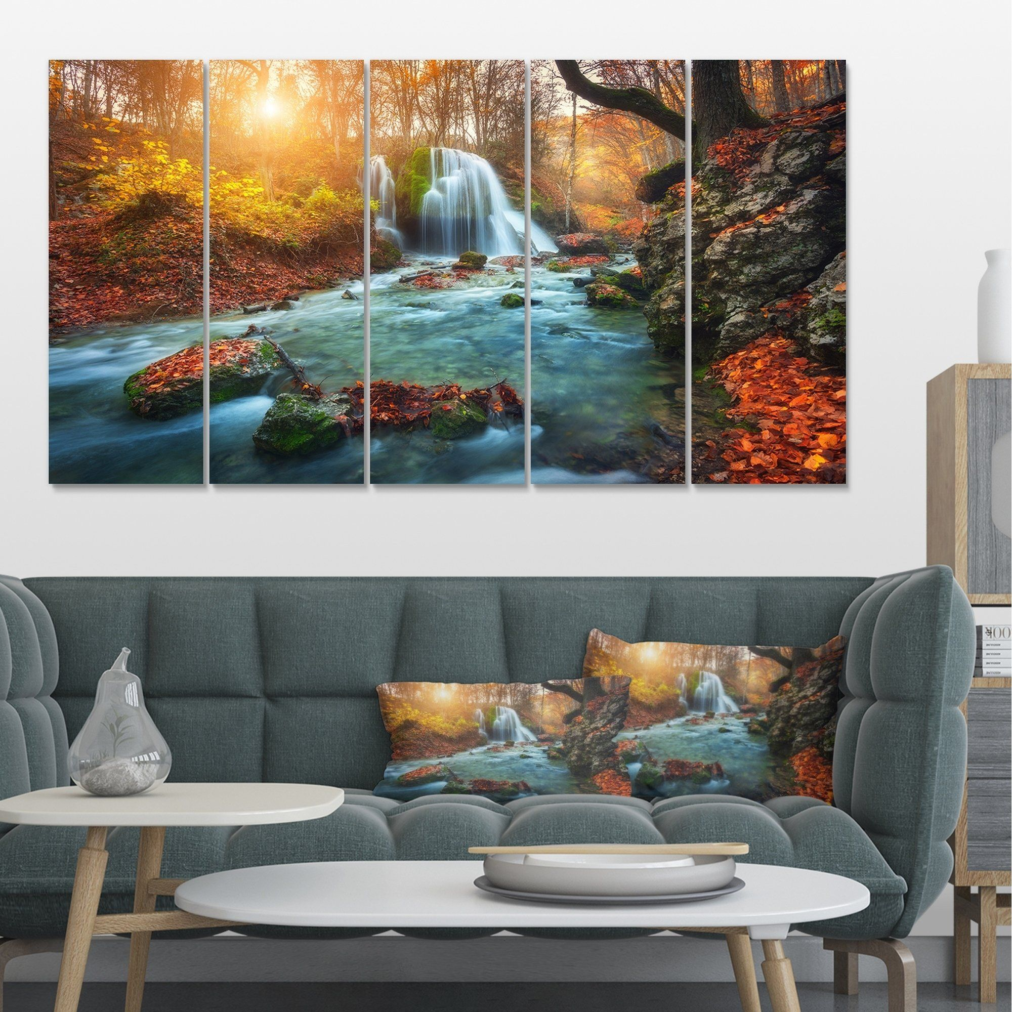 Fast Flowing Fall River in Forest' Landscape Photography Wall Art by DESIGN ART