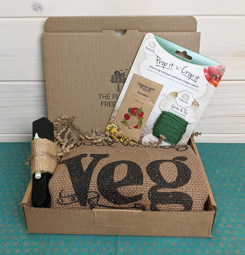 'Grow your own'Gift Box With Twool Woolly Veg Sack - Tomato by The Plastic Free Shop