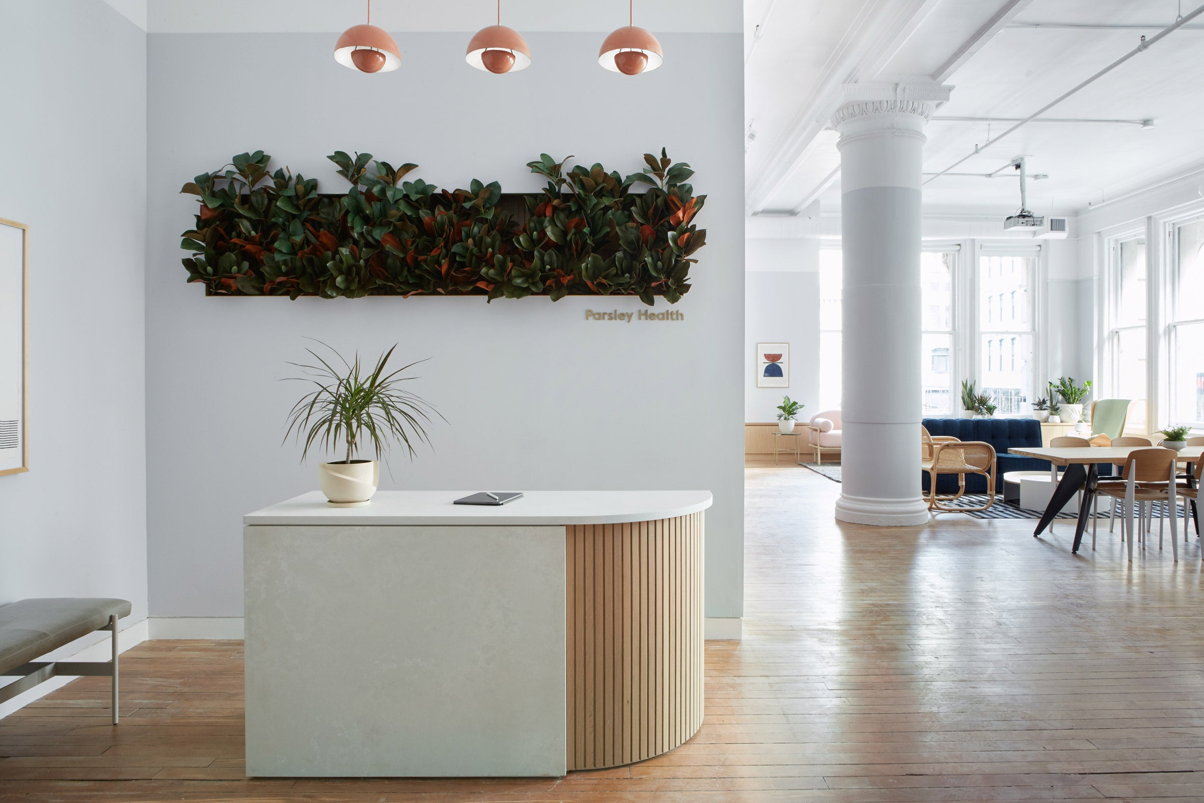 Earthy and homey details feature in New York clinic Parsley Health by Alda Ly, Design team: Alda Ly, Loretta Choi, Daisy Hook, Photography is by Reid Rolls