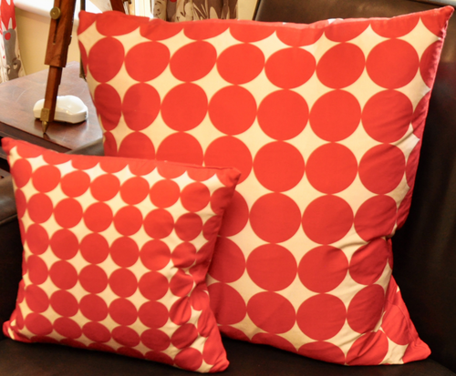 Red Geometric Circle Cushion