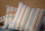 Blue and Orange Stripe Cushion