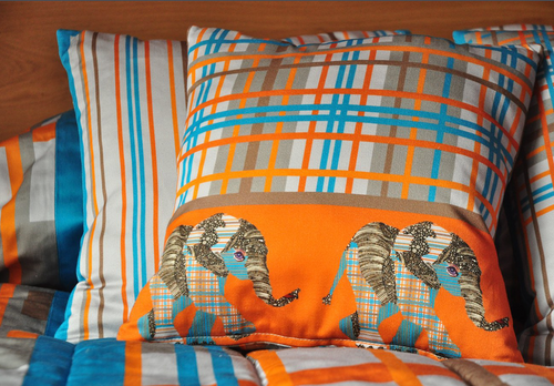 Orange and Blue Check Elephant Cushion