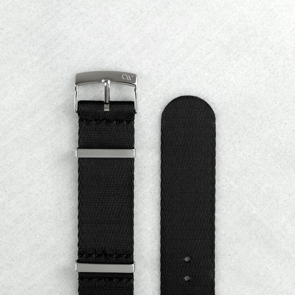 Night Sky Black NATO Strap (20mm | Polished Hardware)