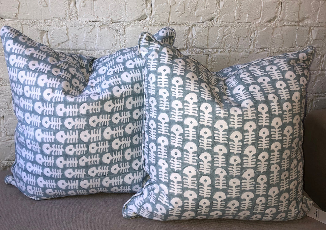 Hand Blocked Fish Print Pillows (set of 2)