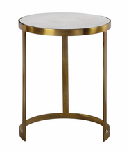 Load image into Gallery viewer, Marble & Brushed Gold Accent Table