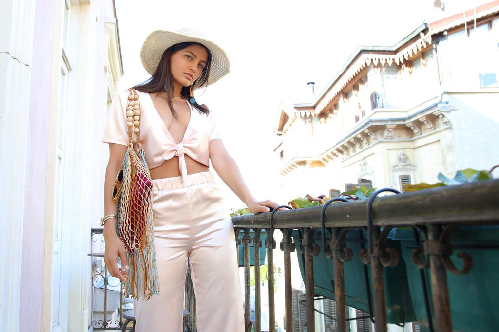 Cap Ferrat Crop Top in Rose