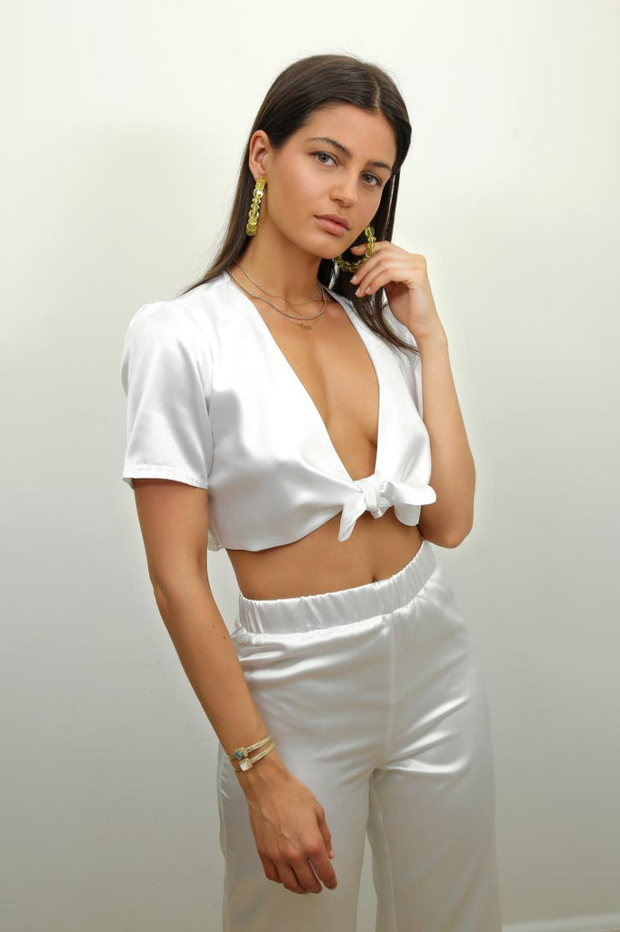 Cap Ferrat Crop Top in White