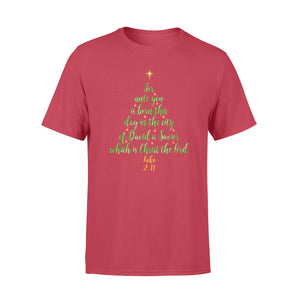 GearUnique Christmas Christian Quotes Bible Tree Luke 2:11 Lord Standard T-shirt