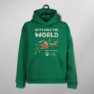 Custom Funny Pet Christmas Hoodie - Cats Rule The World