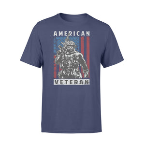 GearUnique American Veteran Soldier With Gun And Flag - Standard T-shirt