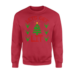 GearUnique Lets Get Lit Tree Lights Joke Funny Christmas Shirt - Standard Fleece Sweatshirt