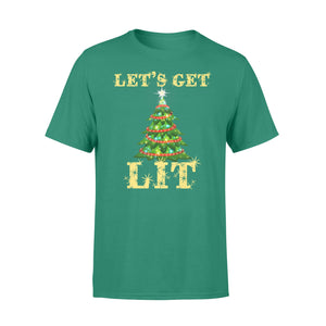 GearUnique Funny Christmas Shirt Let's Get Lit Gift For Adult Standard T-shirt