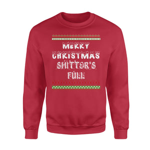 GearUnique Ugly Christmas Shirt - Merry Christmas Shitter's Full T-shirt - Great Vacation Tee - Standard Fleece Sweatshirt