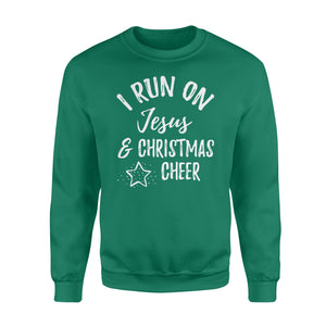 GearUnique I Run On Jesus And Christmas Cheer Christian Gift Tee - Standard Fleece Sweatshirt