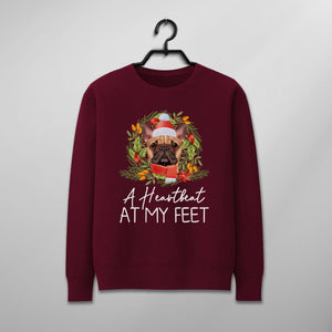 Custom Funny Christmas Sweater - A Heartbeat At My Feet
