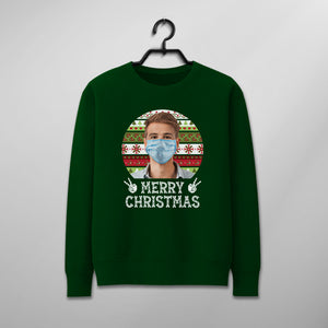 Custom Funny Christmas Sweater - Funny Merry Christmas Wearing Mask
