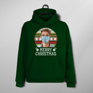 Custom Funny Christmas Hoodie - Funny Merry Christmas Wearing Mask