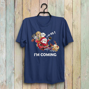 Custom Funny Dogs Christmas T-Shirt - Santa Claus Is Coming With Three Dogs