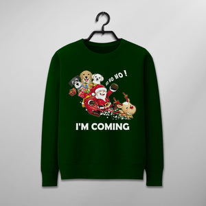 Custom Funny Christmas Sweater - Santa Claus Is Coming With Three Dogs