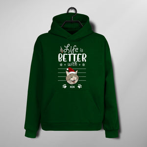 Custom Funny Christmas Hoodie - Life Is Better With Cats