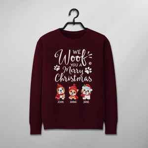 Custom Funny Christmas Sweater - We Woof You A Merry Christmas
