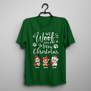 Custom Funny Christmas T-shirt - We Woof You A Merry Christmas