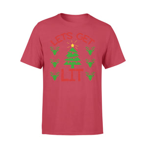 GearUnique Lets Get Lit Tree Lights Joke Funny Christmas Shirt - Standard T-shirt