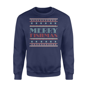 GearUnique Merry Fishmas Funny Christmas T-shirt For Fishers Ugly Shirt - Standard Fleece Sweatshirt