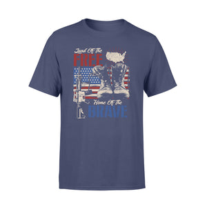 GearUnique Us Land Of The Free Home Of The Brave Veteran Army - Standard T-shirt