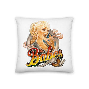 Pillow in white with Babes Papes logo