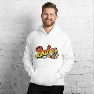 Graphic Hoodie in White with Babes Front Logo