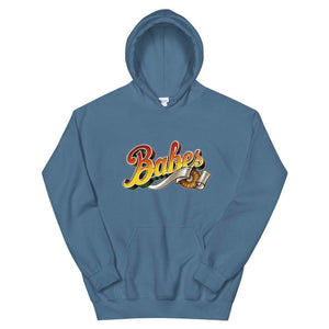 Graphic Hoodie in Medium Blue  with Babes Front Logo