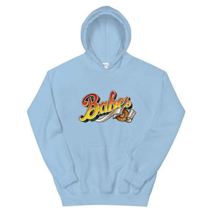 Graphic Hoodie in Baby Blue with Babes Front Logo