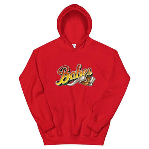 Graphic Hoodie in Red with Babes Front Logo