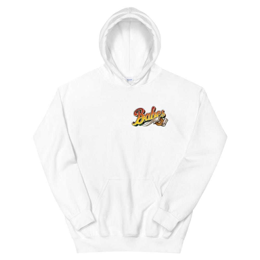 Babes Papes Graphic Hoodie with Front and Back Logo in White