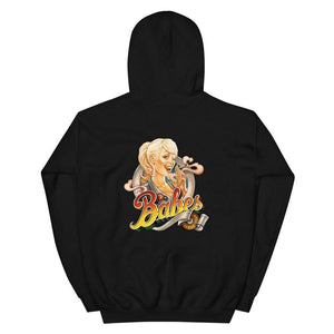 Babes Papes Graphic Hoodie with Front and Back Logo in Black