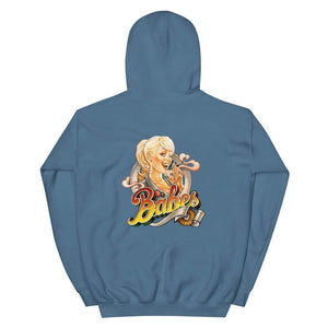 Babes Papes Graphic Hoodie with Back Logo in Light Blue