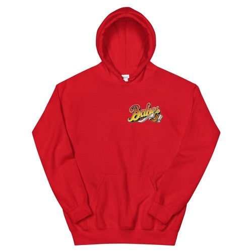 Babes Papes Graphic Hoodie with Front and Back Logo in Red