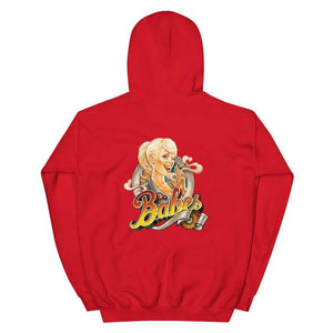 Babes Papes Graphic Hoodie with Back Logo in Red