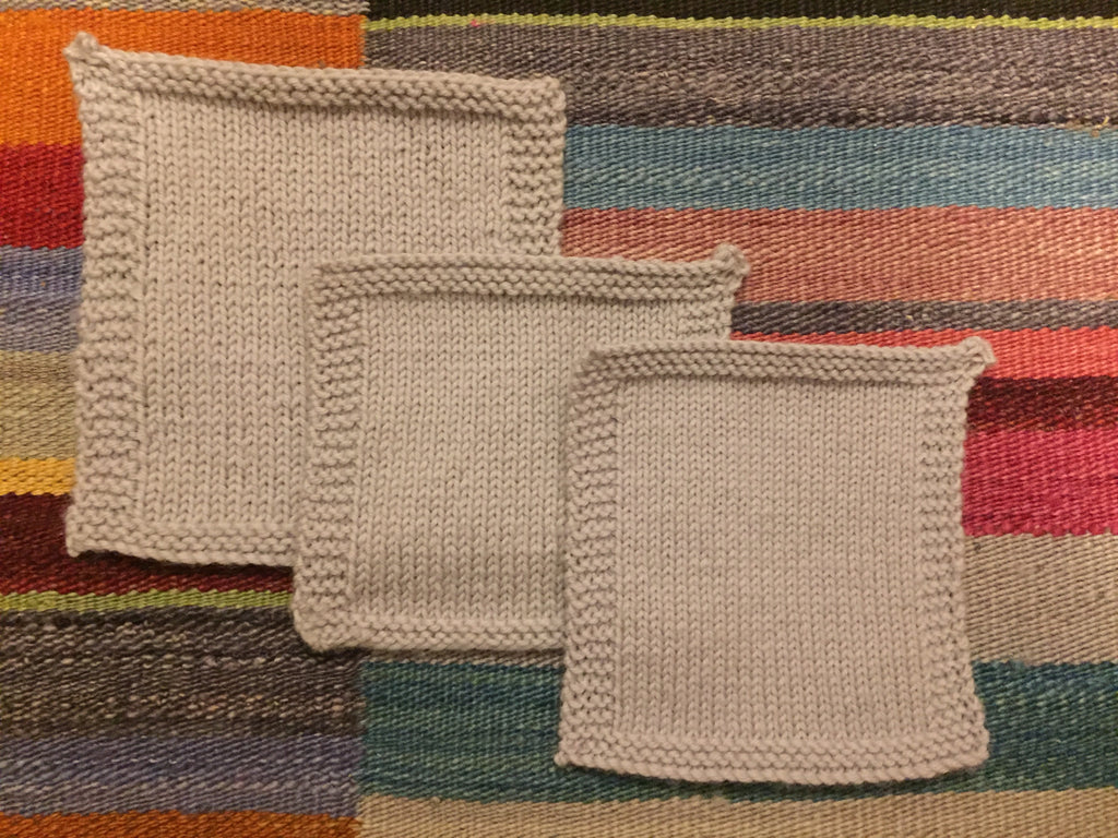 Three knitted swatches using the same yarn and needles but achieving three very different tensions