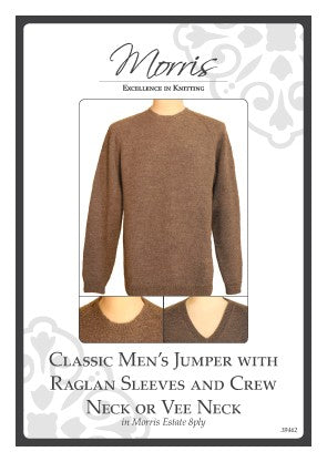 Classic Men's Jumper with Raglan Sleeves and Crew Neck or Vee Neck