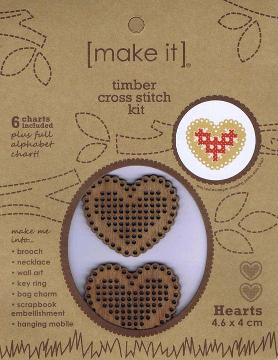 Hearts Timber Cross Stitch